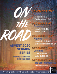 On the Road Advent 2020 Sermon Series Poster 8.5 by 11 Small